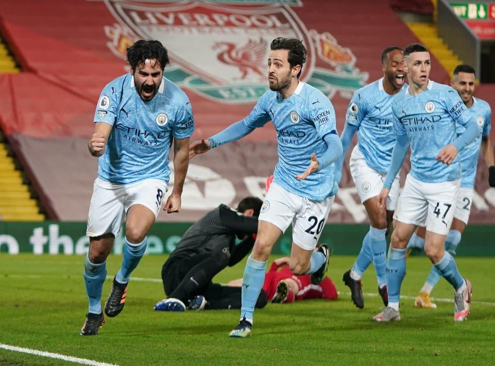 Ilkay Gundogan celebrates scoring against Liverpool