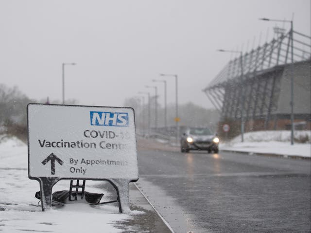 <p>Snow forced the closure of the NHS Covid-19 vaccination centre at the Jobserve Community Stadium in Colchester, Essex</p>