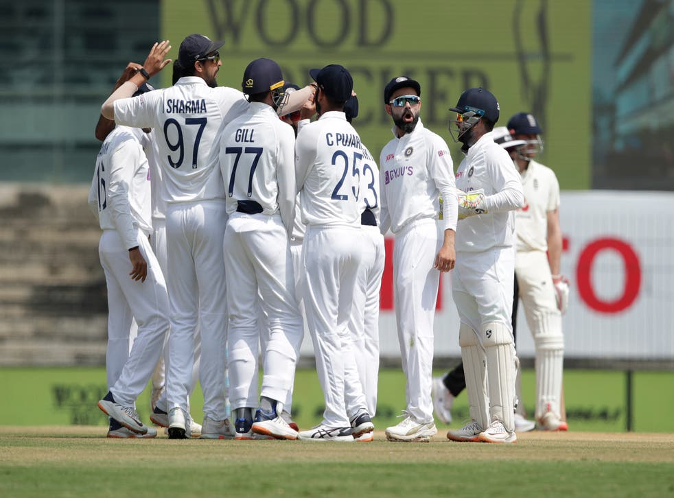 India team celebrates a wicket during day four of the first test match between India and England in Chennai
