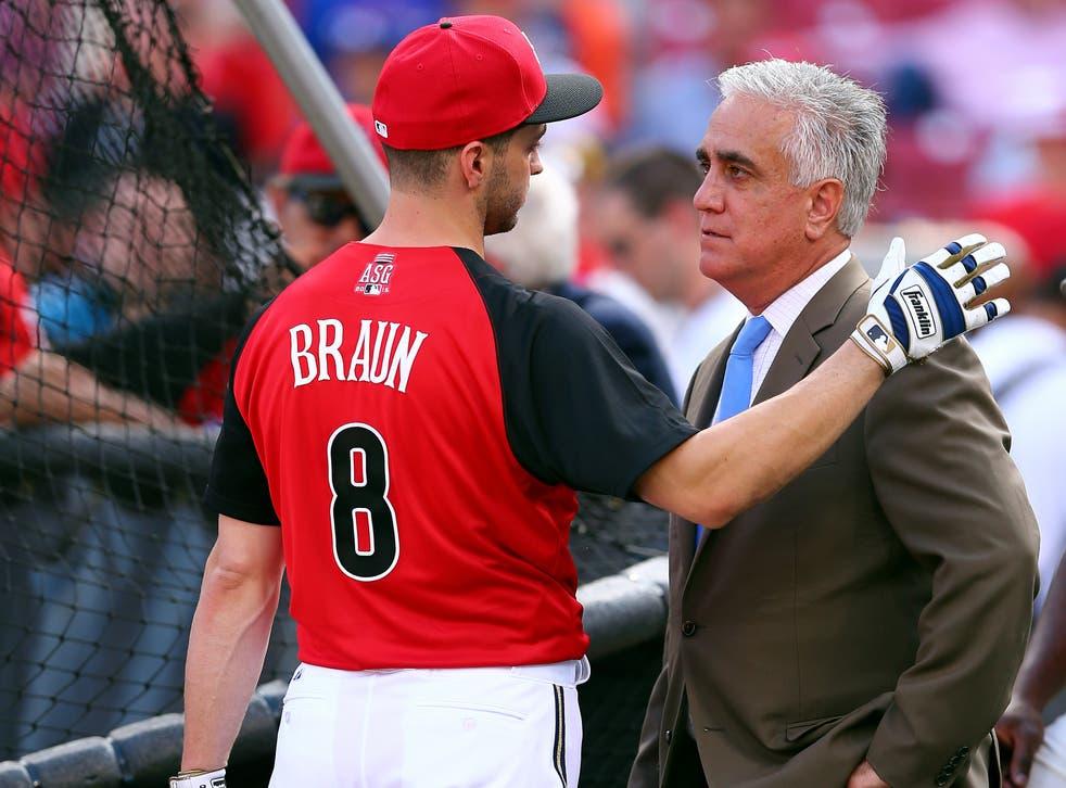 Ryan Braun of the Milwaukee Brewers speaks with Pedro Gomez of ESPN on July 14, 2015 in Cincinnati, Ohio.