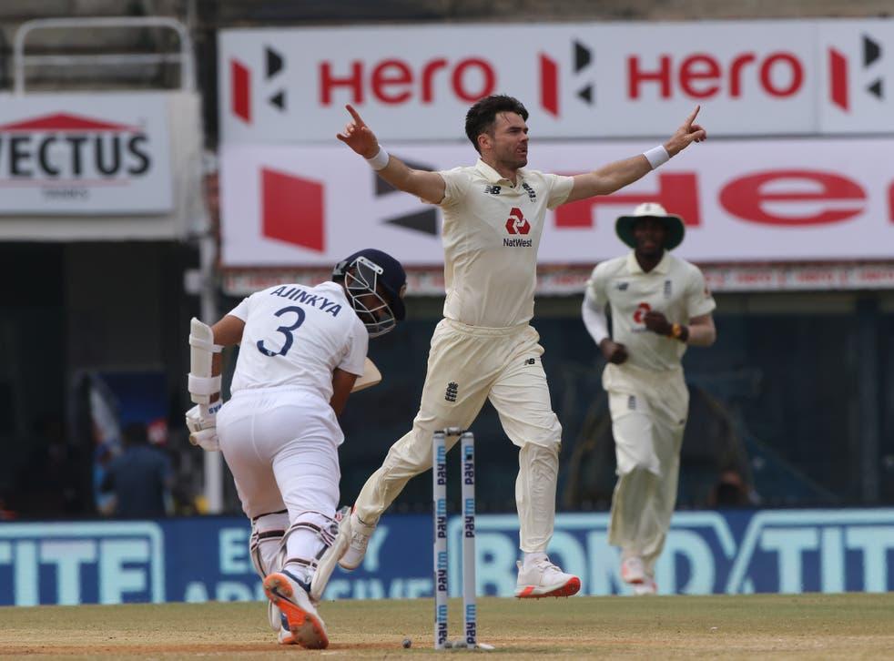 James Anderson celebrates the wicket of Ajinkya Rahane