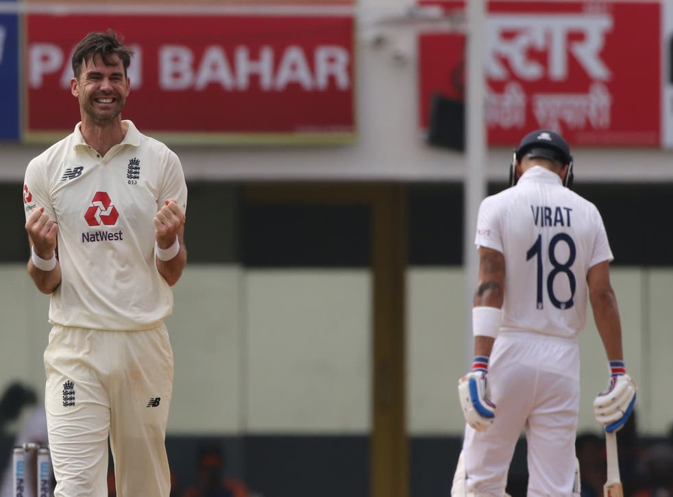 <p>James Anderson of England celebrates the wicket of Rishabh Pant</p>