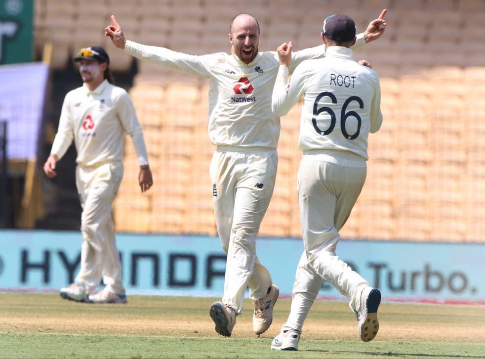Jack Leach of England celebrates the wicket of Ravichandran Ashwin