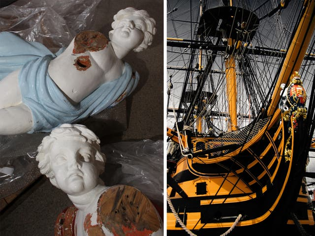 <p>Left: Part of<em>HMS Victory</em>'s 10 foot early 19th-century figurehead which, in 2009, was mistakenly thought to be a modern replica. Right: <em>HMS Victory</em>in 2007 – showing the sculpture just two years before it was sawn into pieces </p>