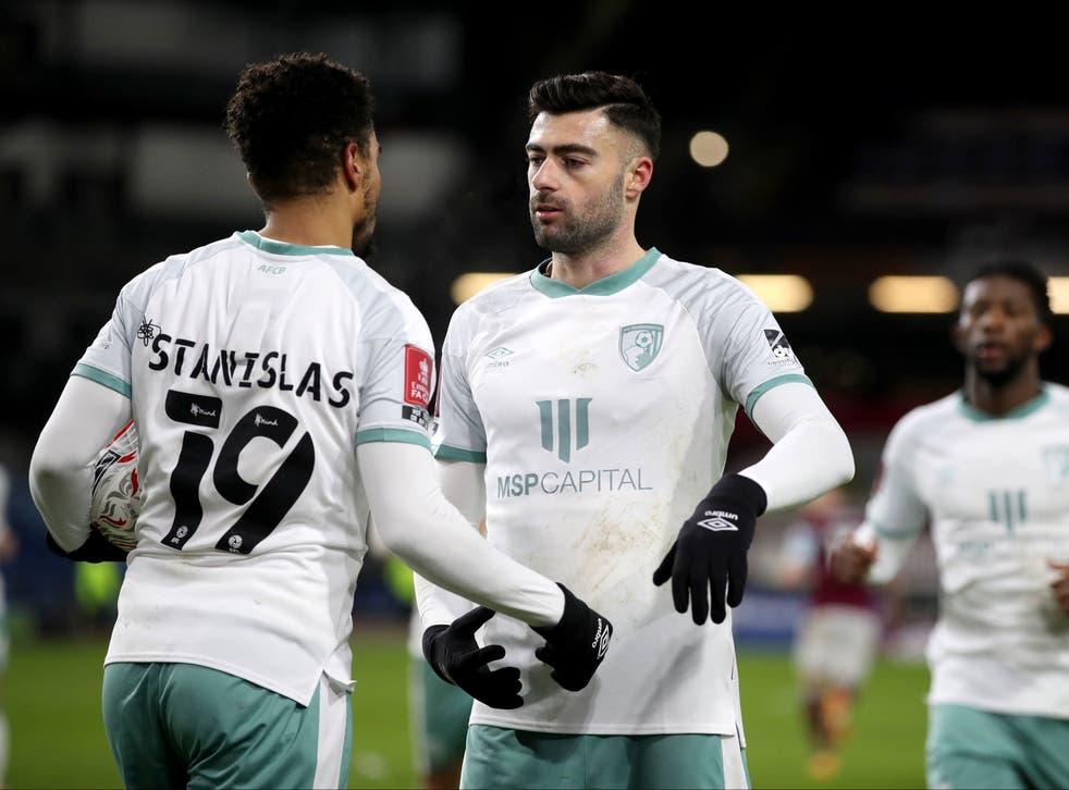 Junior Stanislas, left, after scoring Bournemouth's second goal