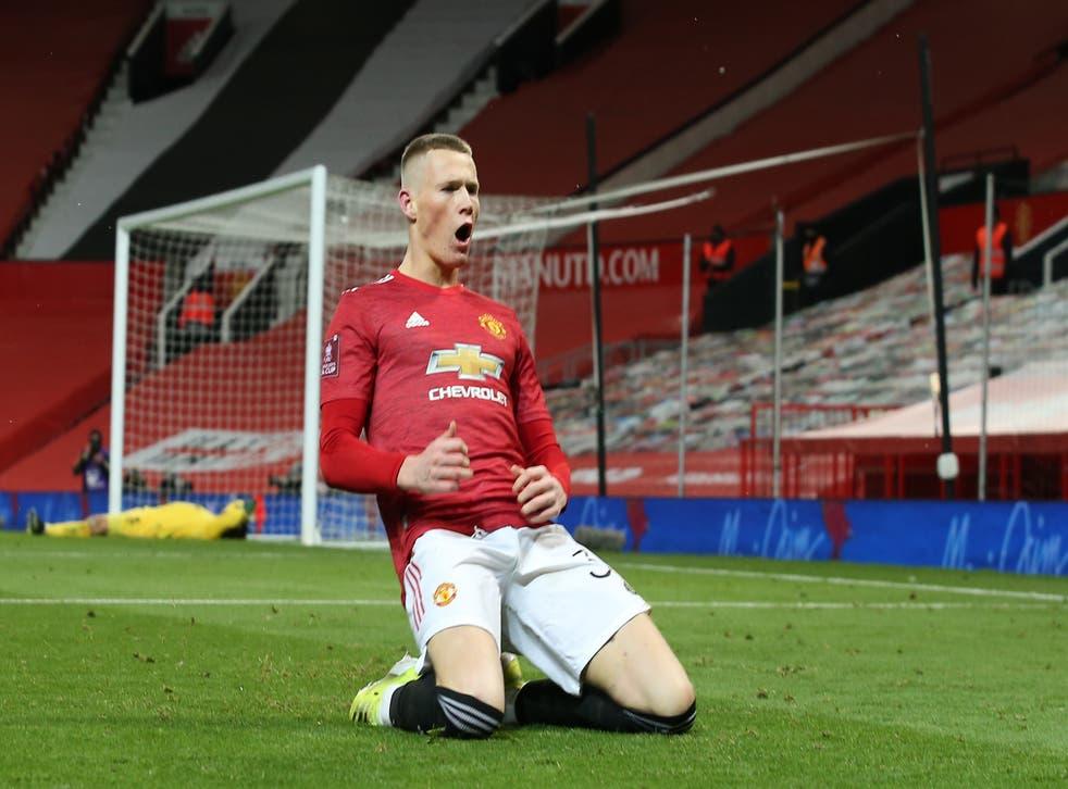 Manchester United midfielder Scott McTominay celebrates his goal
