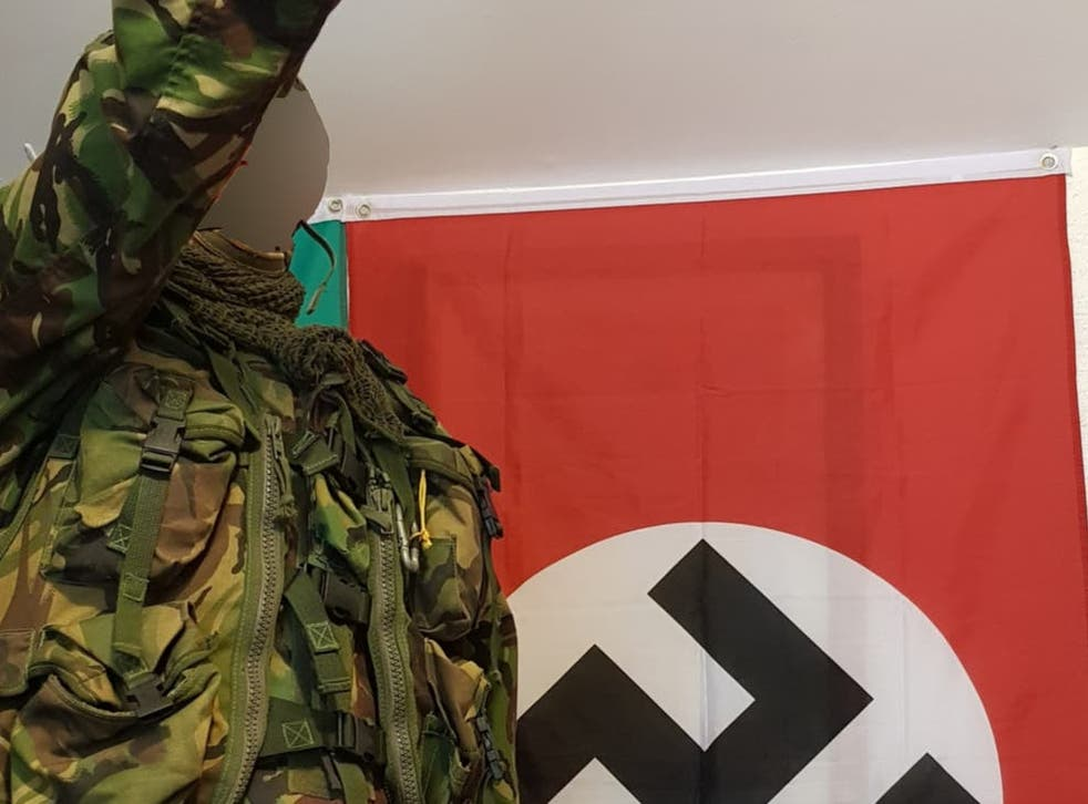 <p>The UK's youngest terror offender performs a Hitler salute at his grandmother's home in a selfie photo he  took at age 14</p>