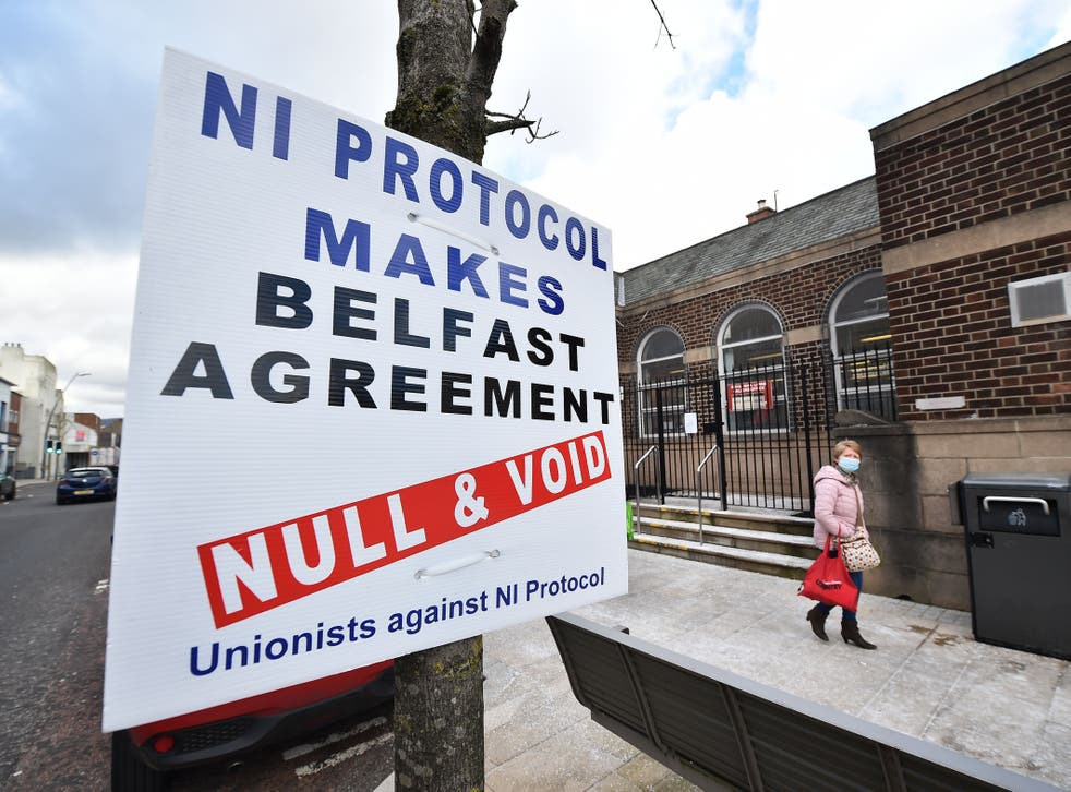 A Unionist sign protesting against the NI Protocol is seen in Larne town centre