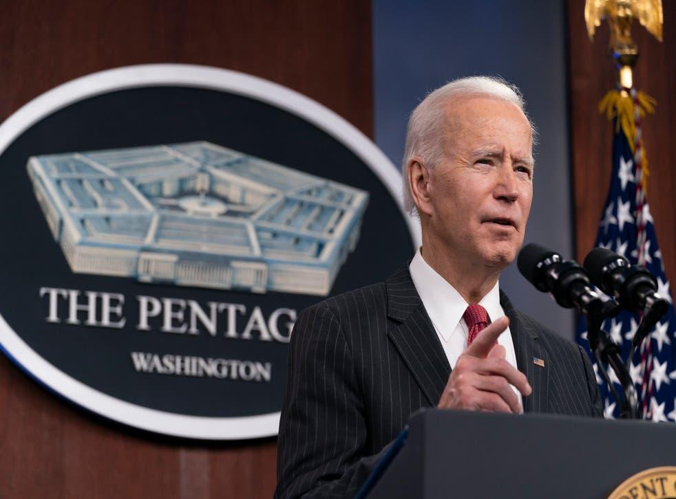 <p>President Joe Biden speaks at the Pentagon, Wednesday, Feb. 10, 2021, in Washington.</p>