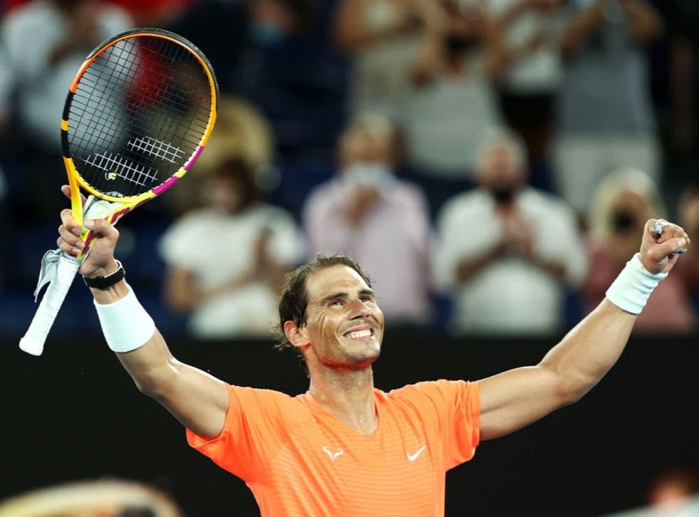 <p>Rafael Nadal celebrates victory</p>