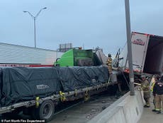 Five dead and drivers trapped after 100 car pile-up on icy Texas freeway