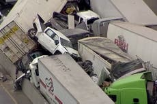 Fort Worth: Aerial video shows carnage of 100 car pile up in Texas