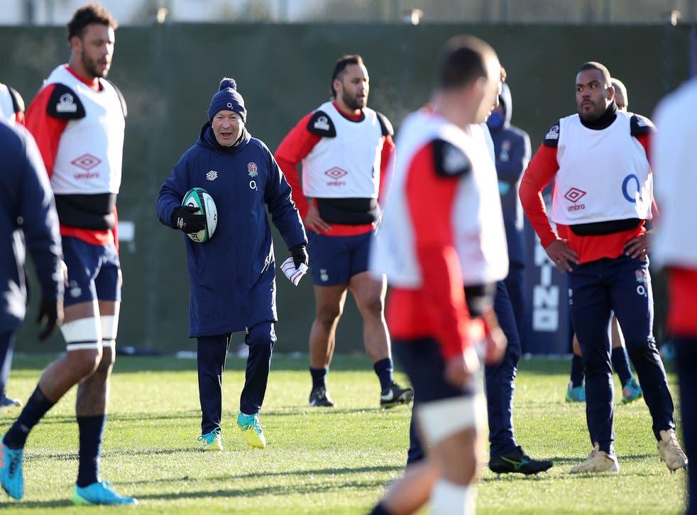 Eddie Jones directs England training at The Lensbury