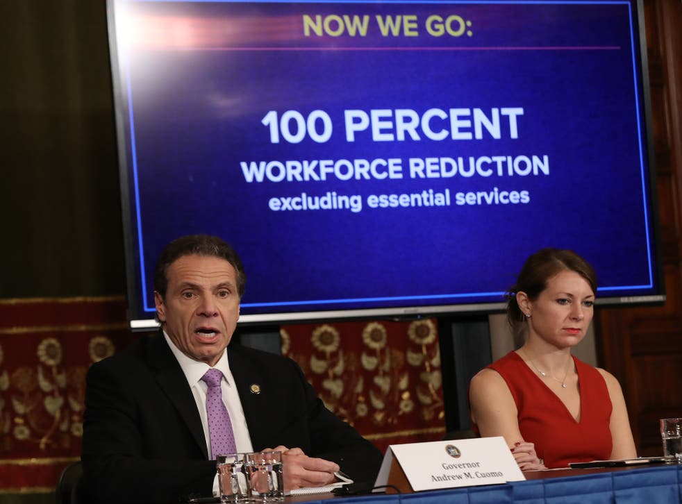 <p>File Image: New York Governor Andrew Cuomo (L) speaks during his daily news conference with Secretary to the Governor Melissa DeRosa (R) on 20 March 2020 in New York City.</p>
