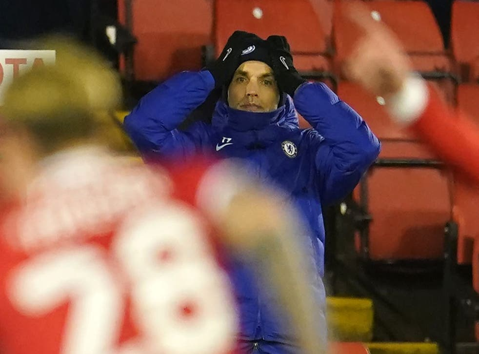 Chelsea manager Thomas Tuchel looks on
