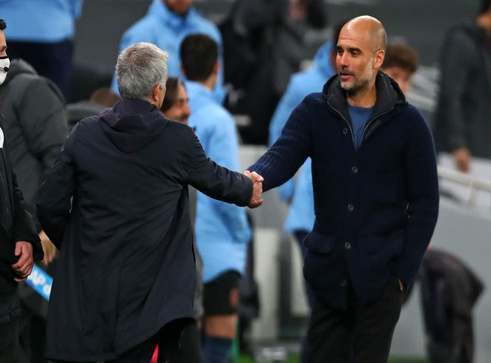 Manchester City manager Pep Guardiola and Tottenham counterpart Jose Mourinho