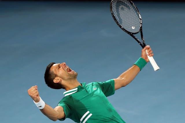 Novak Djokovic celebra