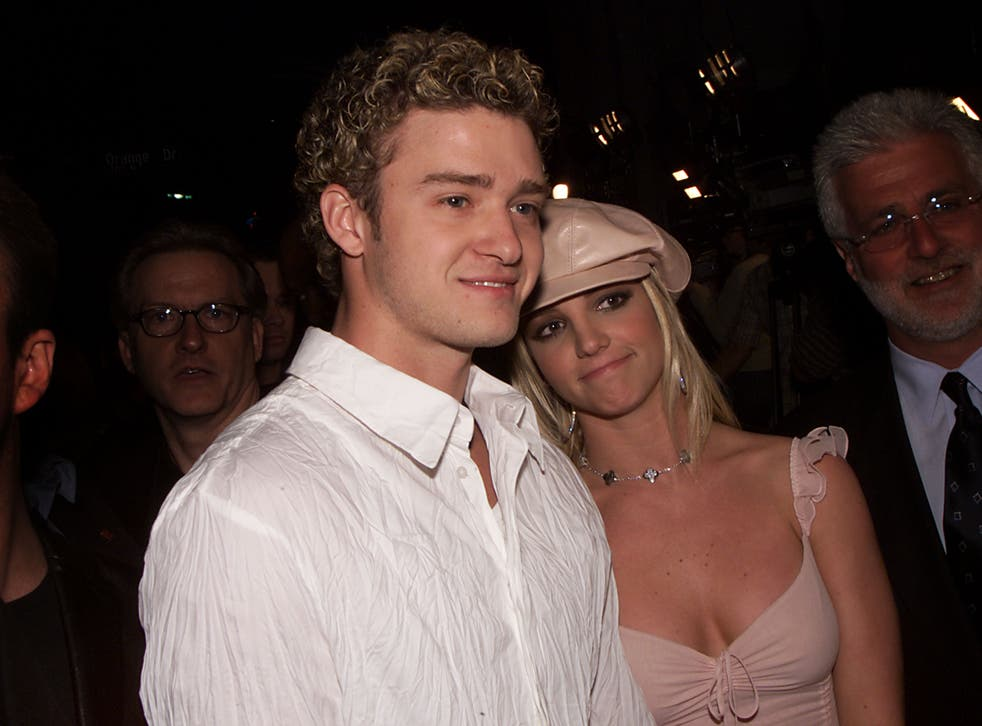 Britney Spears and Justin Timberlake at the premiere of her film Crossroads on 11 February 2002 in Hollywood, California