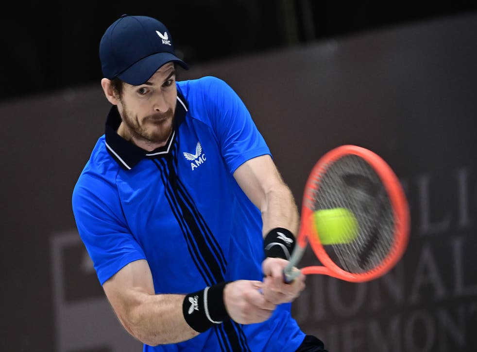 Andy Murray in action during the ATP Challenger tournament in Biella