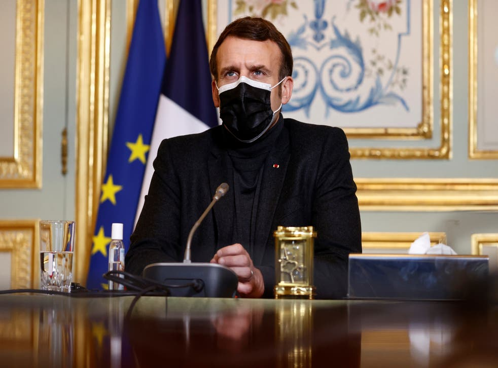 <p>File image: French president Emmanuel Macron earlier declared the Oxford-AstraZeneca vaccine 'quasi ineffective' for people over 65</p>