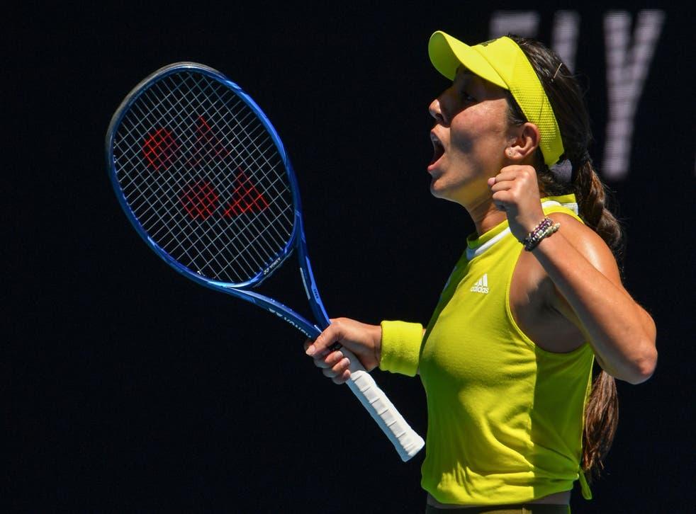 Jessica Pegula celebrates her victory over Elina Svitolina
