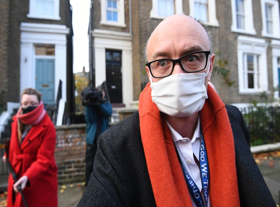 Dominic Cummings leaves his home in north London last November shortly before he quit his post as Boris Johnson's top aide