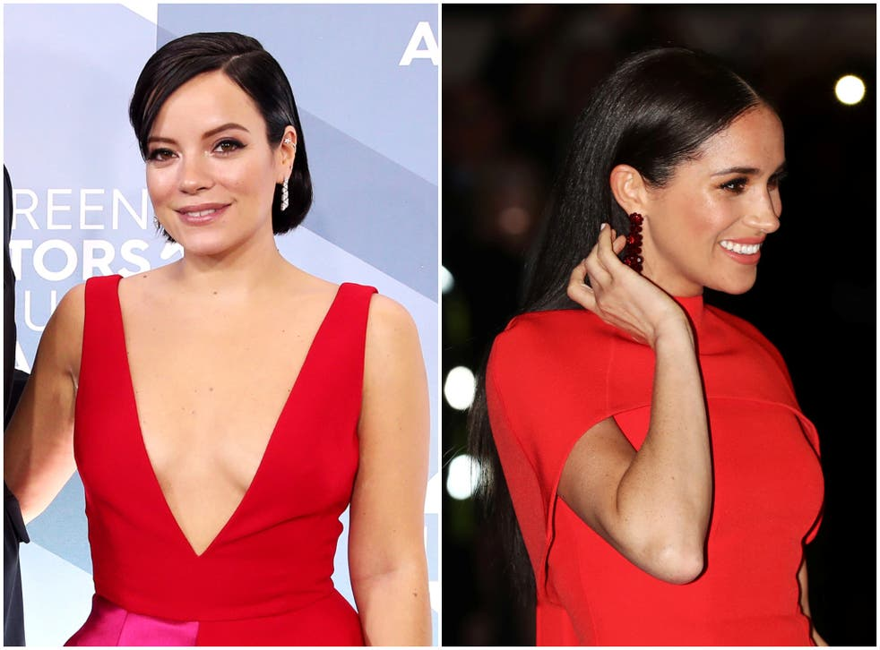 <p>Lily Allen (left) tweeted her support for Prince Harry and Meghan Markle</p>