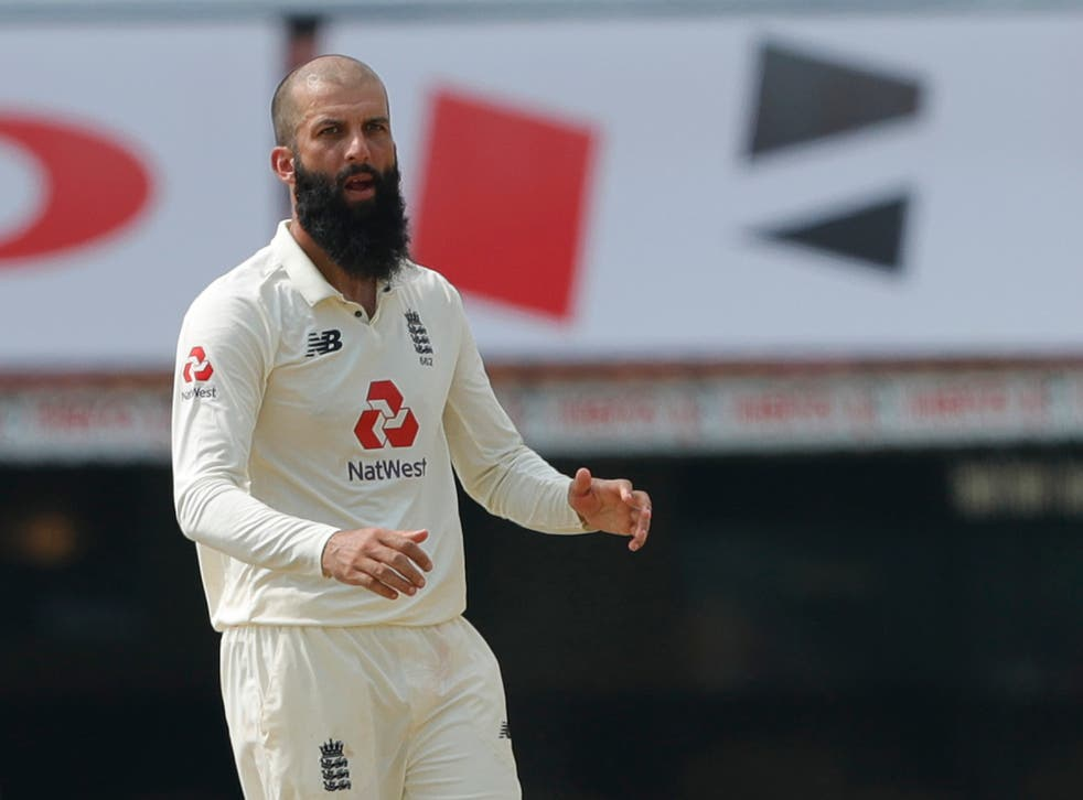 Moeen Ali in action for England against India in Chennai