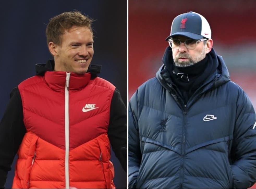 RB Leipzig manager Julian Nagelsmann and Liverpool manager Jurgen Klopp