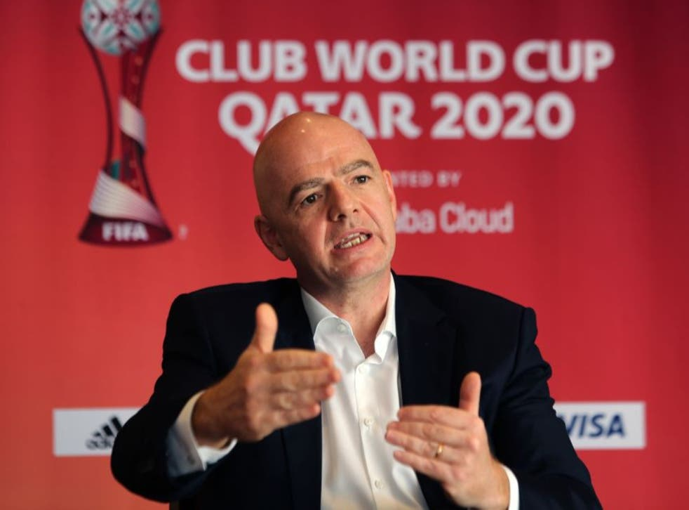 <p>Gianni Infantino at the Club World Cup in Qatar</p>