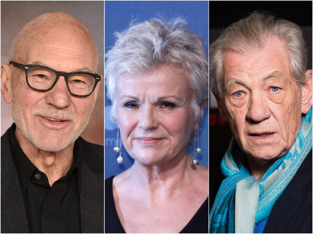 Sirs Patrick Stewart (left) and Ian McKellen (right), next to Dame Julie Walters (centre)