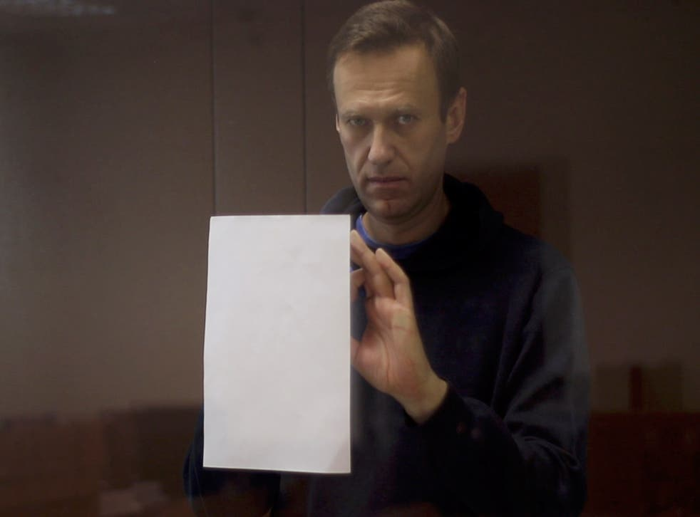 Kremlin critic Alexei Navalny, who is accused of slandering a Russian World War Two veteran, is seen inside a defendant dock during a court hearing in Moscow