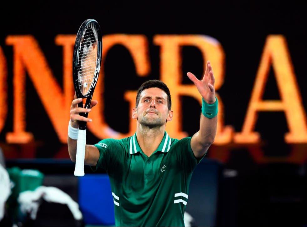 <p>Novak Djokovic celebrates his victory</p>