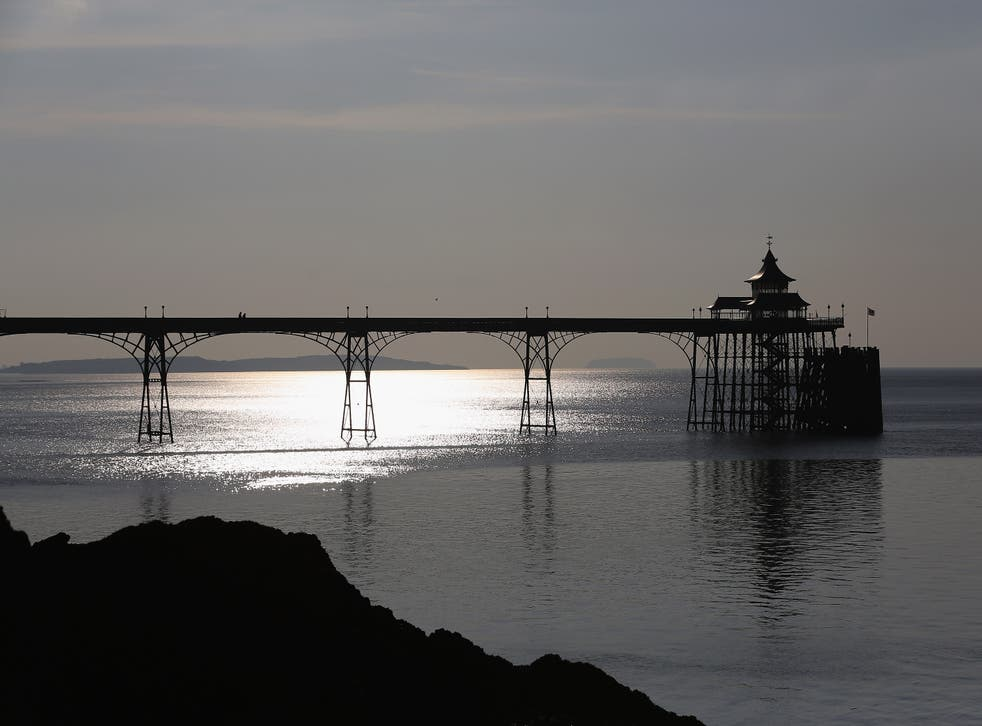 <p>The sun reflects off the calm waters of the Severn Estuary at Clevedon</p>