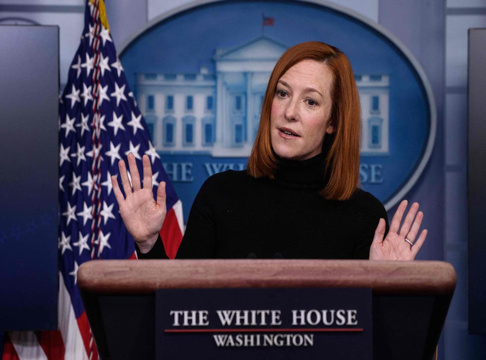 <p>White House Press Secretary Jen Psaki speaks during a news briefing at the James Brady Press Briefing Room of the White House February 16, 2021 in Washington, DC. </p>
