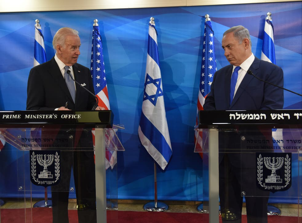 <p>Then-Vice President Joe Biden and Israeli Prime Minister Benjamin Netanyahu give joint statements on March 9, 2016</p>