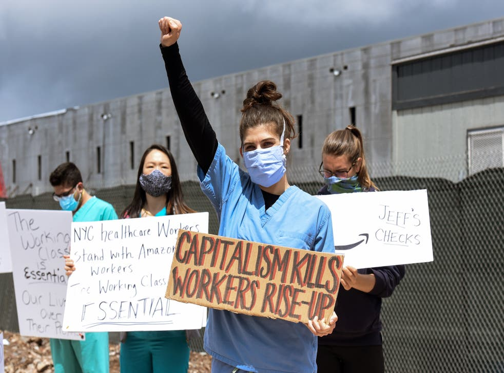 Company also accused of retaliating illegally when employees complained (Pictured: Staten Island protest in May 2020)