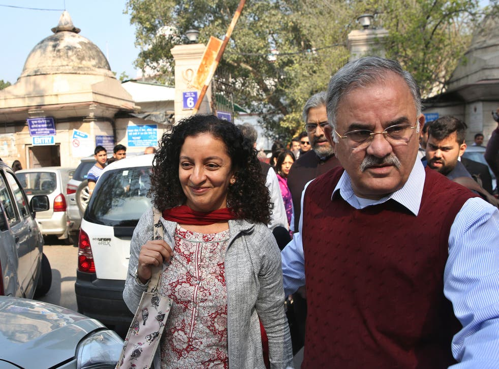 <p>Indian journalist Priya Ramani, seen here leaving court in February 2019, has been acquitted in her high profile defamation case</p>