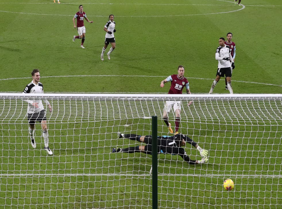 Ashley Barnes finishes to give Burnley an equaliser