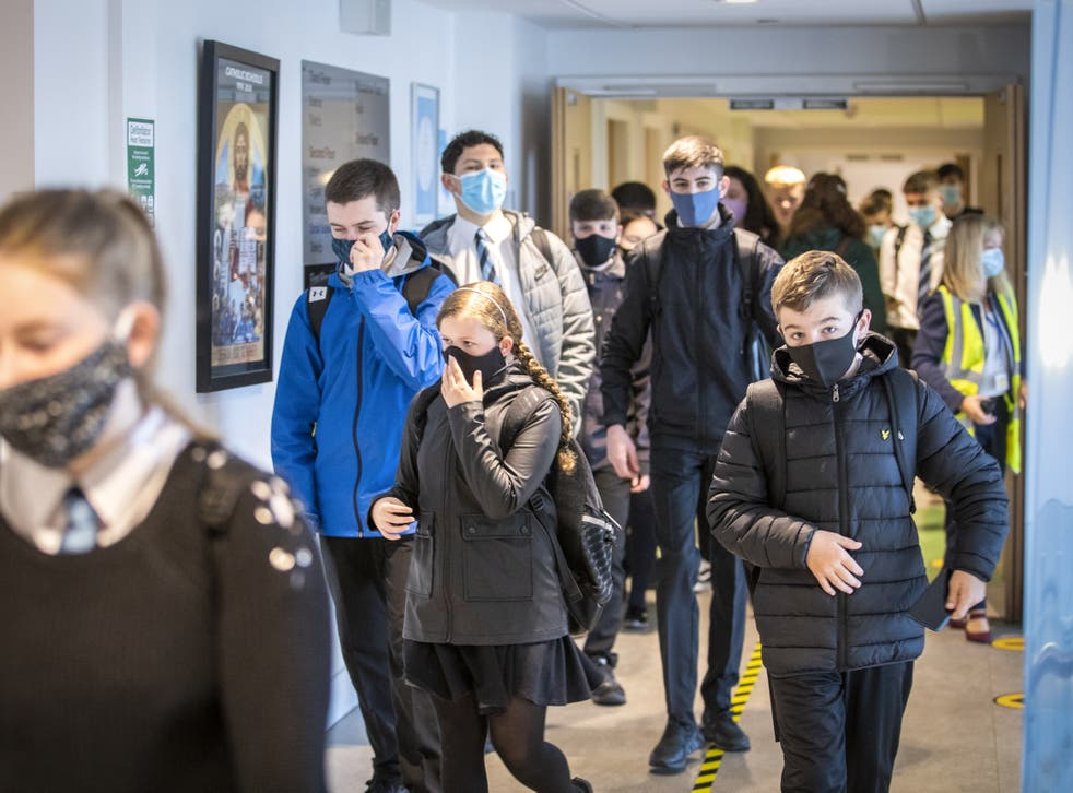 Students at St Columba's High School, Gourock, wear protective face masks as they head to lessons