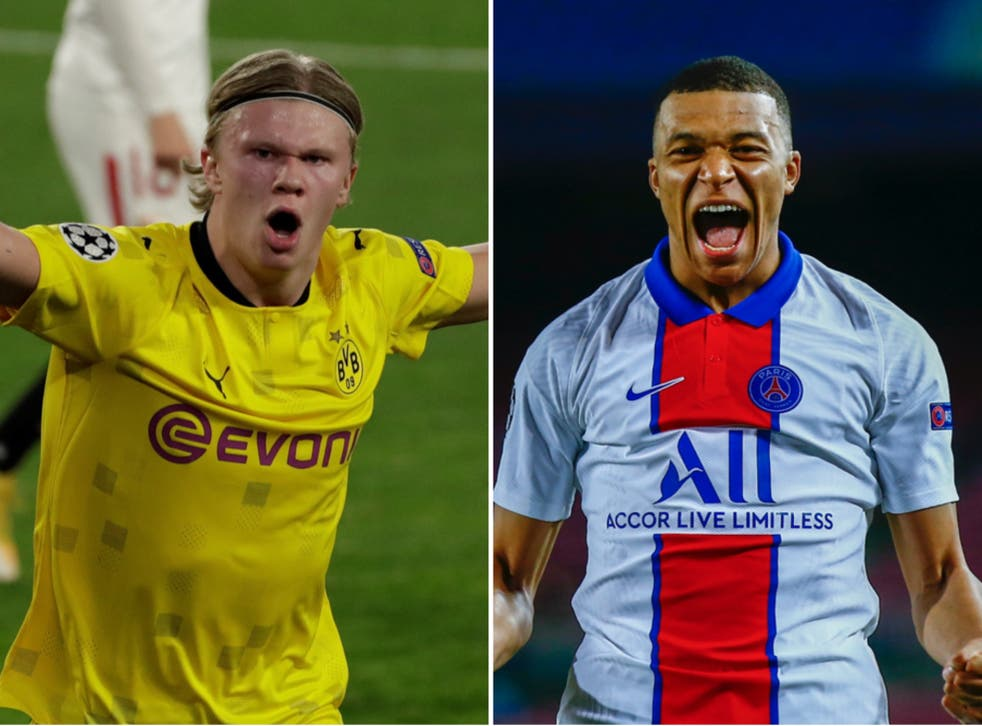 Borussia Dortmund's Erling Haaland and PSG's Kylian Mbappe