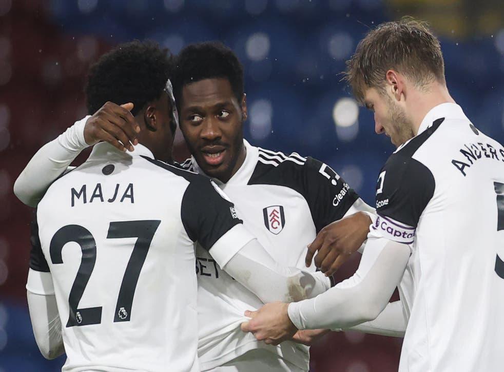 Fulham celebrate Ola Aina's goal