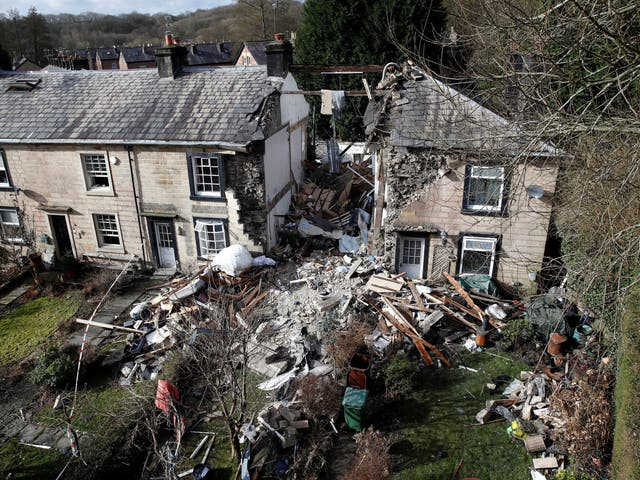 <p>Debris from explosion at house in Summerseat, near Bury</p>