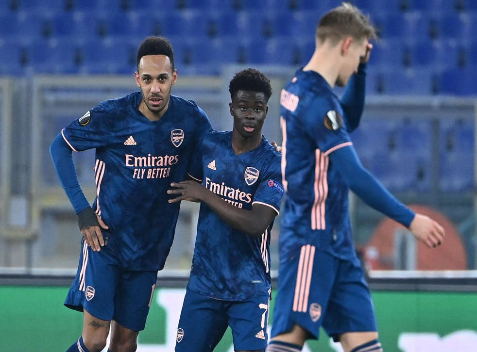 Bukayo Saka celebrates for Arsenal