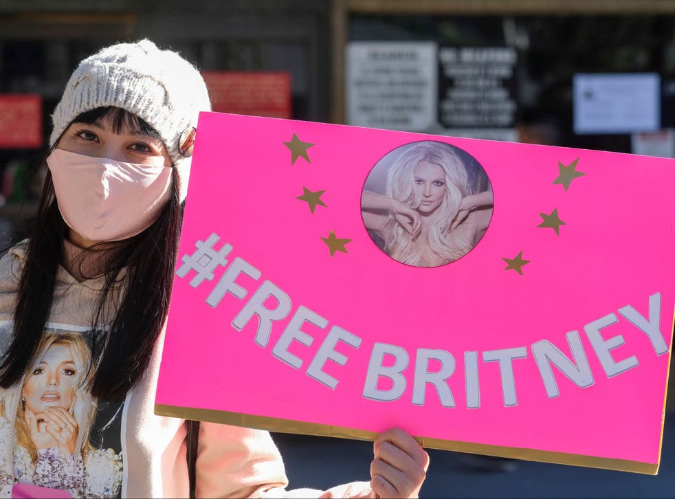 <p> A follower in Los Angeles takes part in the #FreeBritney campaign</p>