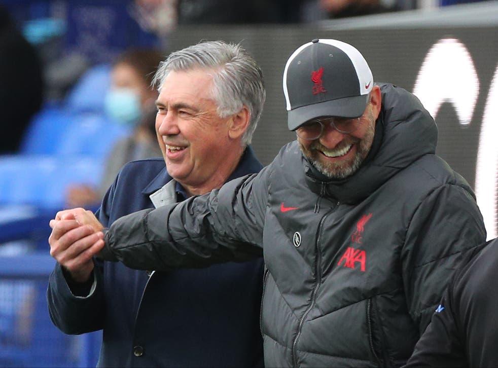 Everton manager Carlo Ancelotti and Liverpool manager Jurgen Klopp