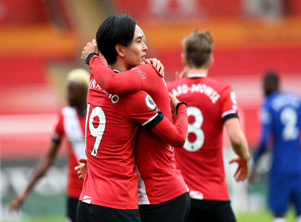 Takumi Minamino celebrates for Southampton