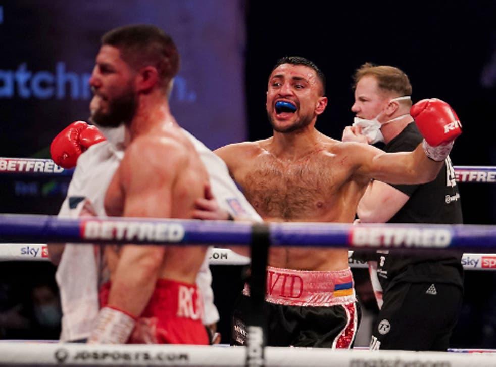 David Avanesyan celebrates his victory over Josh Kelly