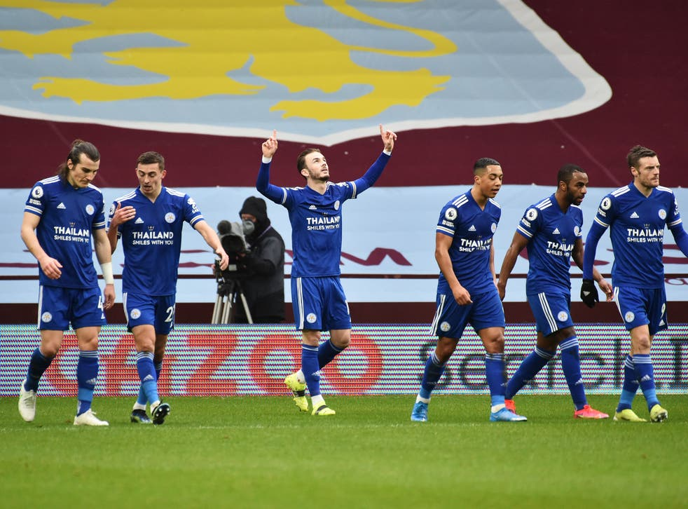 <p>James Maddison celebrates scoring</p>