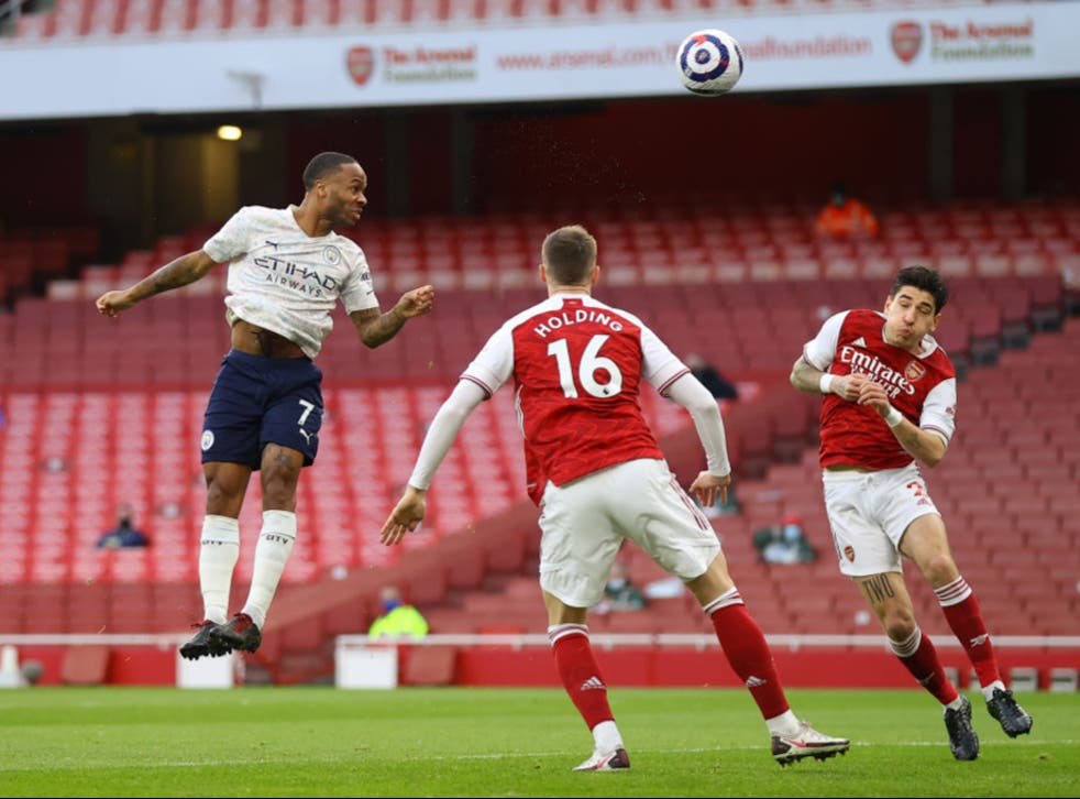 <p>Raheem Sterling heads Man City in front inside two minutes</p>